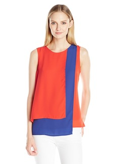 Vince Camuto Women's Sleeveless Colorblocked Layered Blouse
