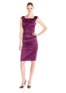 Vince Camuto Women's Sleeveless Cowl Neck Side Gathered Dress