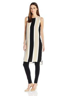 Vince Camuto Women's Sleeveless Deco Bold Stripe Tunic with Side Slits  L