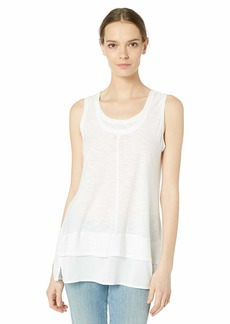 VINCE CAMUTO Women's Sleeveless Double Layer Mix Media Top