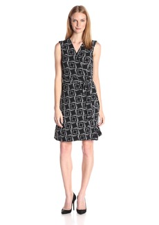 Vince Camuto Women's Sleeveless Echo boxes Wrap Dress