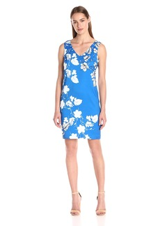 Vince Camuto Women's Sleeveless Floral-Cascade V-Neck Dress