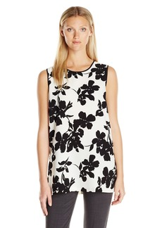 Vince Camuto Women's Sleeveless Fresco Blooms Tunic  S