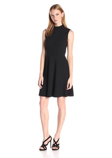 Vince Camuto Women's Sleeveless Houndstooth Texture Mock Neck Flare Dress