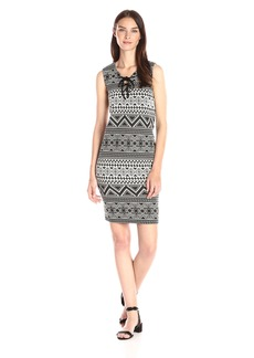 Vince Camuto Women's Sleeveless Knit-Jacquard Lace-up Dress