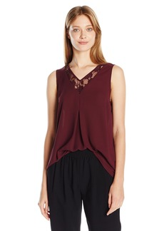 Vince Camuto Women's Sleeveless Lace Front High Low Hem Blouse  edium