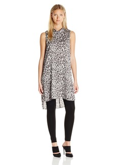 Vince Camuto Women's Sleeveless Mock Neck Leopard Flurry Long Tunic  M
