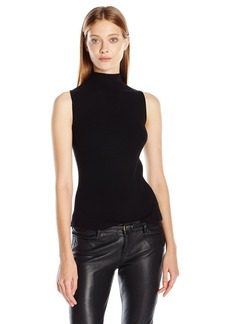 Vince Camuto Women's Sleeveless Mock Neck Ribbed Sweater