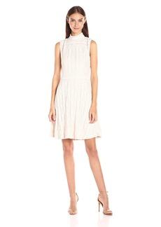 Vince Camuto Women's Sleeveless Mock Neck Ruffle Lace Flare Dress