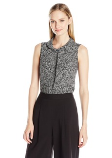 Vince Camuto Women's Sleeveless Mock Neck Texture Tweed Shell Blouse