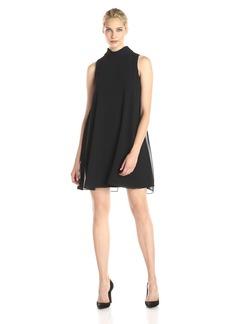 Vince Camuto Women's Sleeveless Mock Turtleneck Flyaway Dress