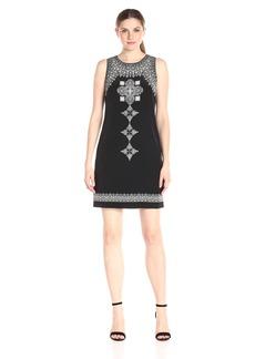 Vince Camuto Women's Sleeveless Ornate Blocks Panel Shift Dress