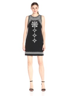 Vince Camuto Women's Sleeveless Ornate Blocks Panel Shift Dress