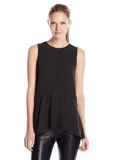 Vince Camuto Women's Sleeveless Paneled Ruffle Front Blouse with Slits