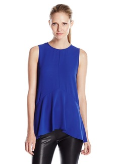Vince Camuto Women's Sleeveless Paneled Ruffle Front Blouse with Slits  edium