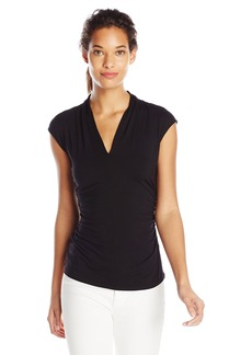Vince Camuto Women's Sleeveless Pleat V Neck Top  Small