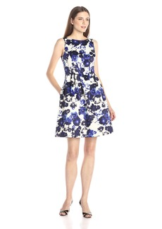 Vince Camuto Women's Sleeveless Printef Floral Fit and Flare Dress