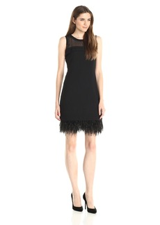 Vince Camuto Women's Sleeveless Sheer Yoke Dress with Feather Hem