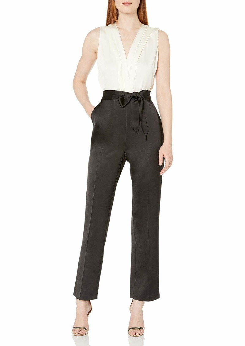 Vince Camuto Women's Sleeveless Soft Satin Belted Jumpsuit