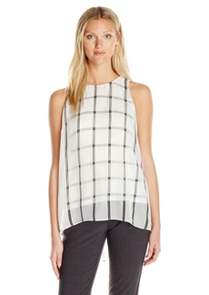 Vince Camuto Women's Sleeveless Stripe Duet Blouse with Knit Underlay  XL