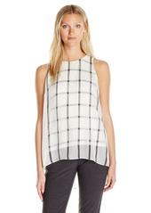 Vince Camuto Women's Sleeveless Stripe Duet Blouse with Knit Underlay  XS