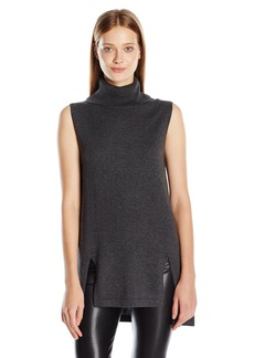 Vince Camuto Women's Sleeveless Turtleneck Sweater with Front Slits  Large