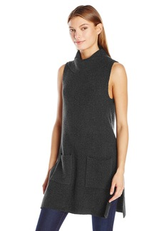 Vince Camuto Women's Sleeveless Turtleneck Two-Pocket Boucle Sweater Tunic  Small