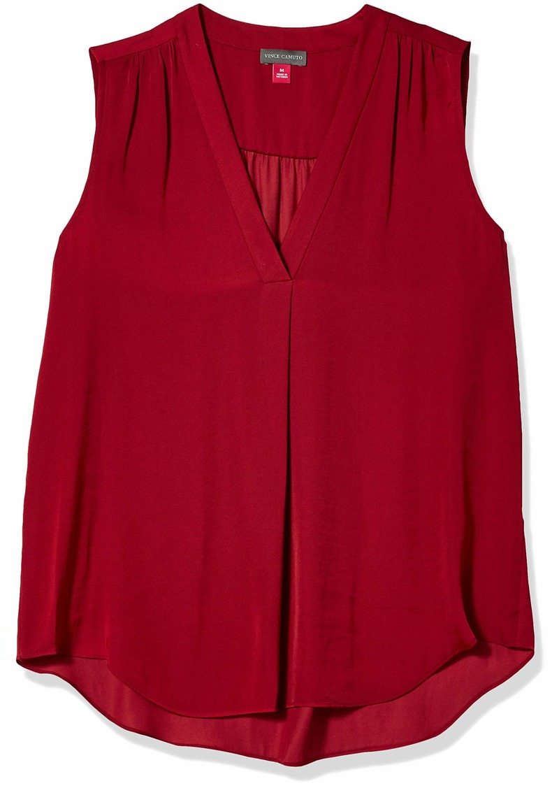 Vince Camuto Women's Sleeveless V-Neck Rumple Blouse  Extra Large