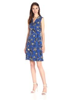 Vince Camuto Women's Sleeveless Wood Block Floral Wrap Dress