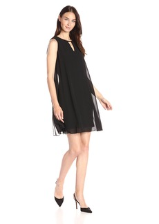 Vince Camuto Women's Solid Float Dress with Keyhole