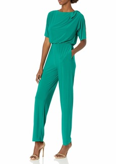 Vince Camuto Women's Solid ITY Jumpsuit with Bow Shoulder Detail