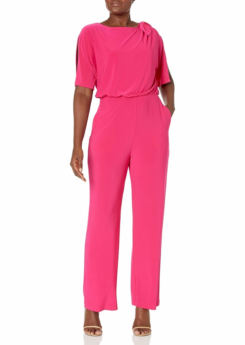Vince Camuto Women's Solid ITY Jumpsuit with Bow Shoulder Detail HOT Pink