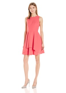 Vince Camuto Women's Solid Scuba Fit and Flare Dress