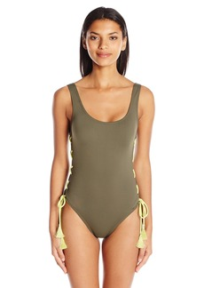 Vince Camuto Women's Solids Scoop Neck Side Lace up Sexy One Piece Swimsuit