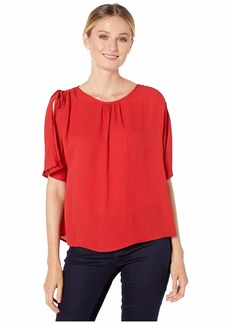 Vince Camuto Women's Split Sleeve Drop Shoulder Rumple Georgette Blouse