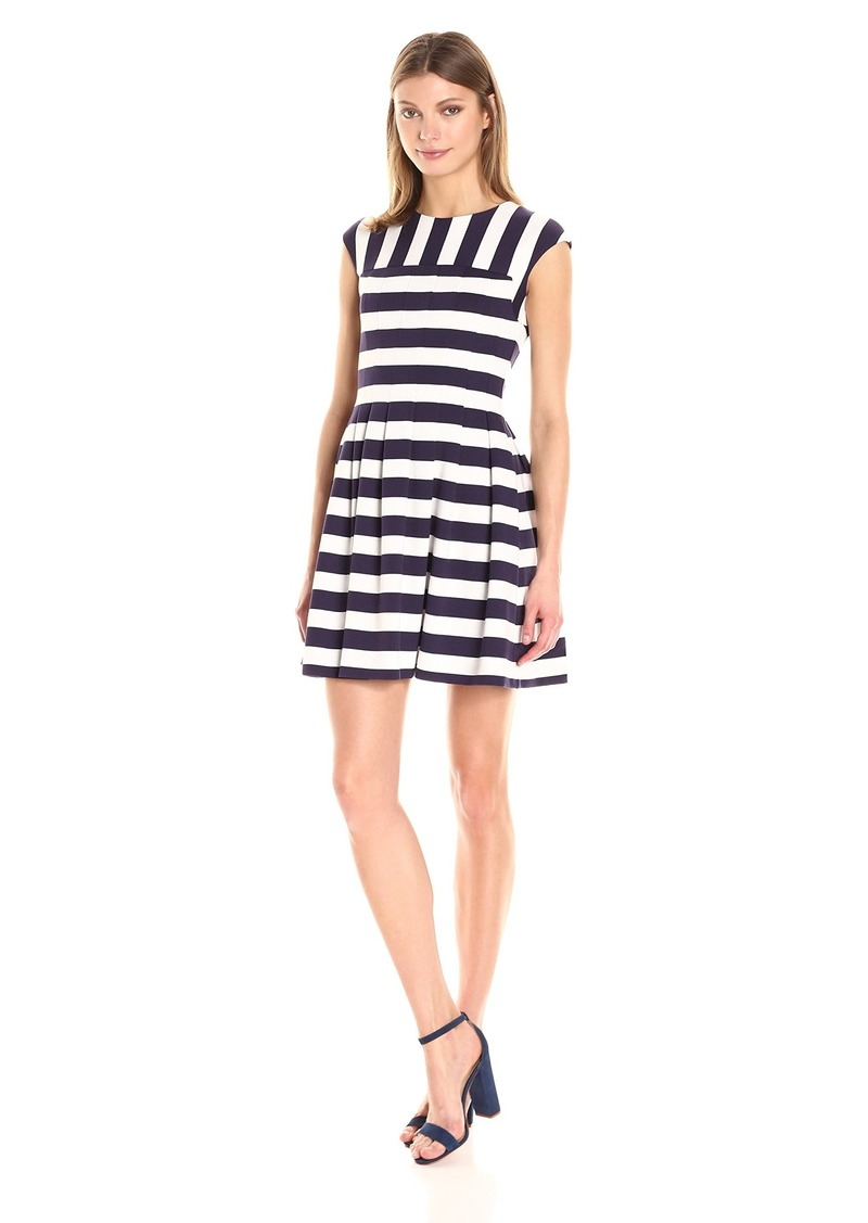 VINCE CAMUTO Women's Stripe Ponte Fit and Flare Dress