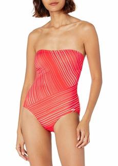 Vince Camuto Women's Stripe Spliced Bandeau ONE Piece