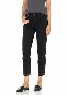 Vince Camuto Women's Studded High Rise Crop Straight Leg Jean  25/