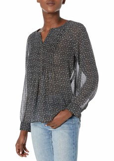 Vince Camuto Women's Sweet Calico Splitneck Pintuck Blouse  Extra Small