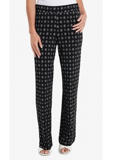 Vince Camuto Women's Textured Foulard Straight Leg Pull On Pants
