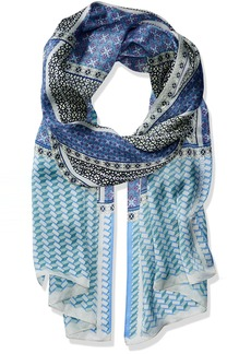 Vince Camuto Women's The Cats Pajamas Silk Oblong Scarf blue/green O/S