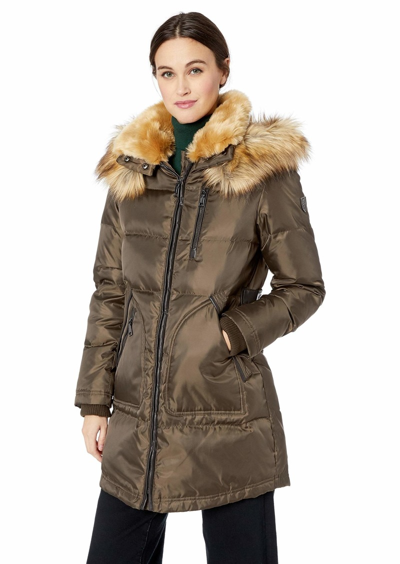 Vince Camuto Women's Thigh Length Zip Front Down Jacket bark