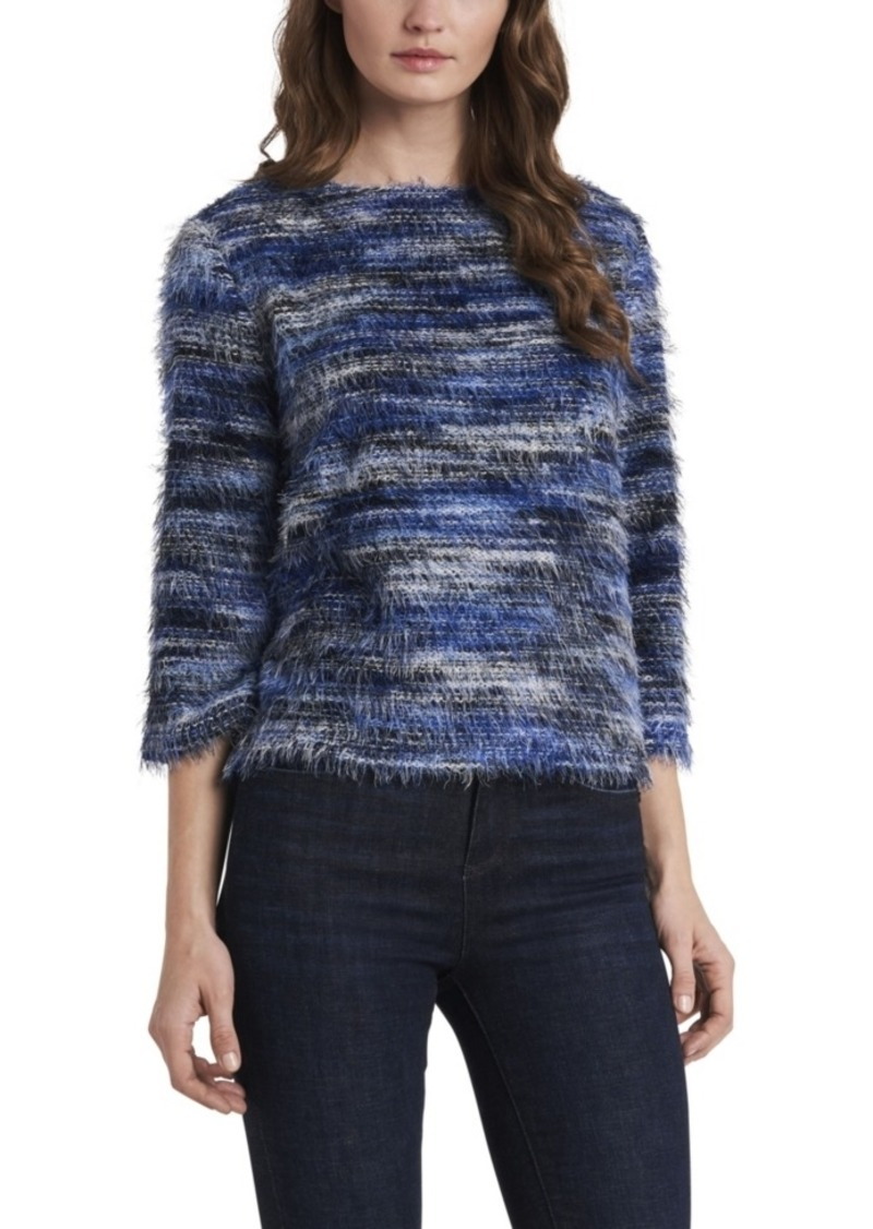 Vince Camuto Women's Three Quarter Sleeve Eyelash Knit Top