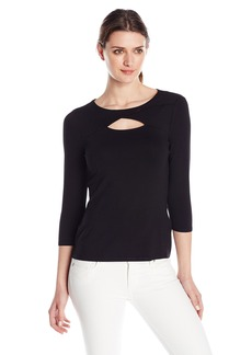 Vince Camuto Women's Three Quarter-Sleeve Top with Front Cutout