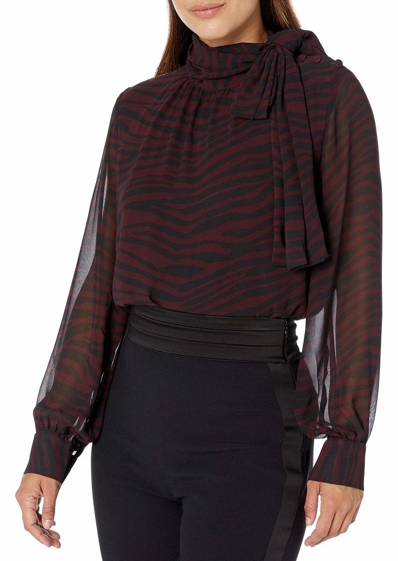 Vince Camuto Women's Tranquil Animal Button Shoulder Tie Neck Blouse