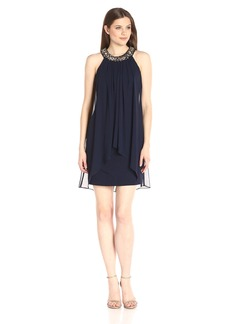 Vince Camuto Women's Trapeze Dress with Beaded Neckline