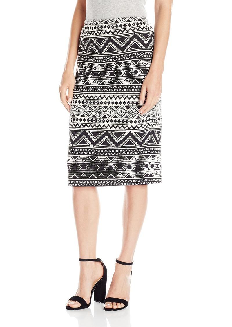 Vince Camuto Women's Tribal Knit Jacquard Midi Tube Skirt