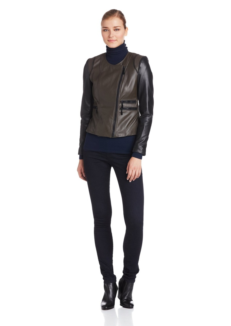 Vince Camuto Women's Two Tone Moto Leather Jacket  X-Large