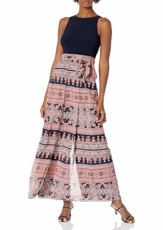 Vince Camuto Women's Twofer Printed Chiffon and ITY Jumpsuit with WRAP Front Pant