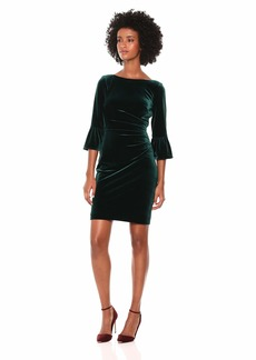 Vince Camuto Women's Velvet Dress with Flounce Sleeve